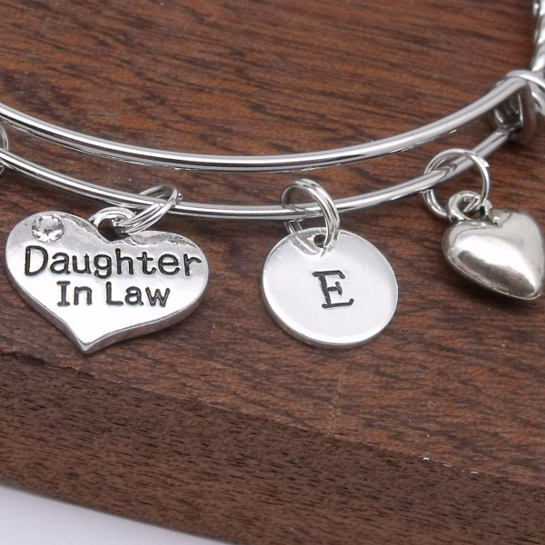 Daughter In Law Heart Personalised Charm Initial Bracelet Gift